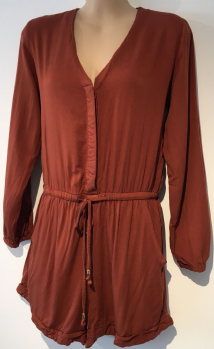 H&M RUST BUTTON FRONT LONG SLEEVED PLAYSUIT SHIRT SIZE 8